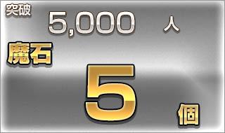 突破5,000人/魔石5個